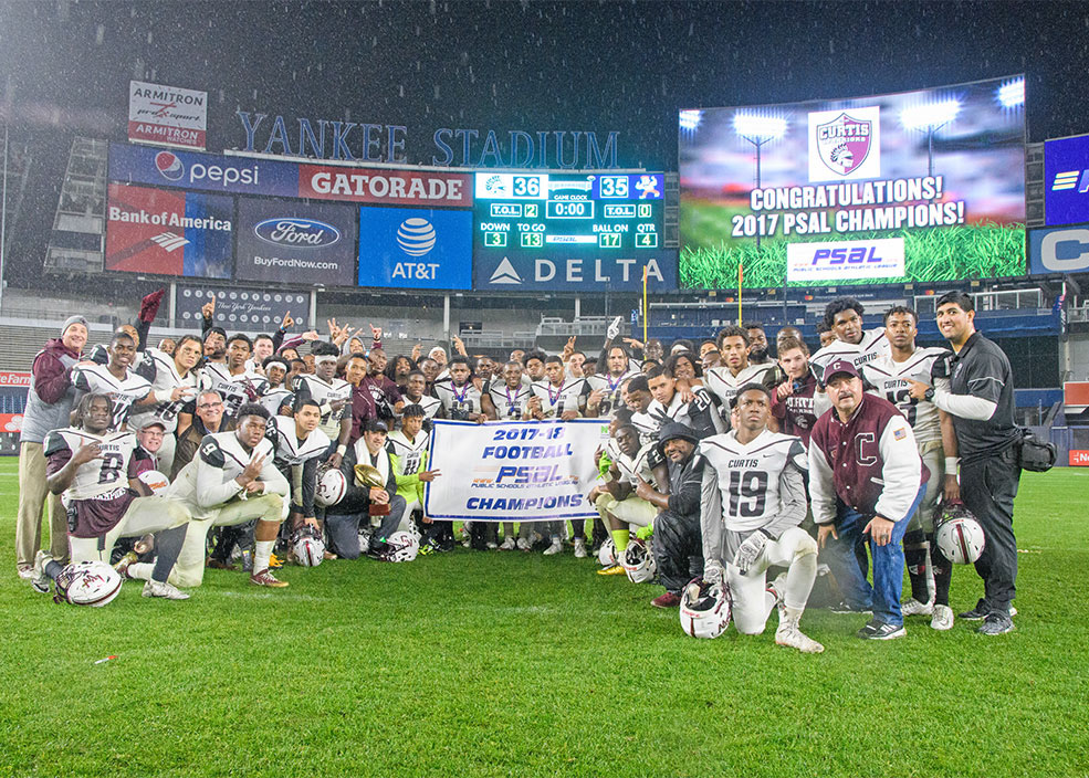 Curtis H.S. Wins in Another Nail Biting Victory for the NYCPSAL Football Championship